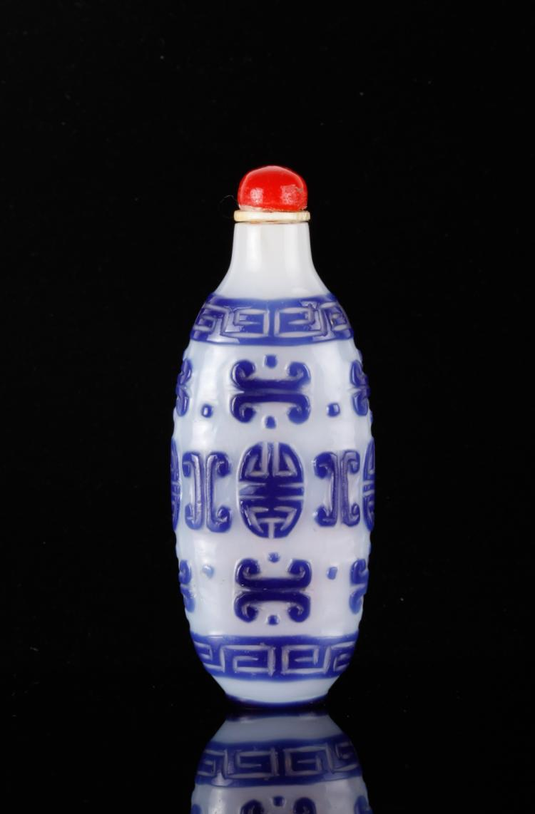 19th C. CH Blue Overlay White Glass Snuff Bottle