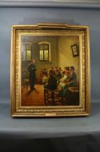 Oil/Canvas Of a Teacher With School Children