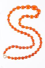 Chinese Amber Cutting Beads Necklace