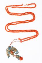 19th C. Chinese Red Coral Beads Necklace