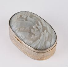 19th C. Chinese Silver Box Inlaid Jade Plaque