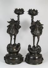17/18th C. Pair of Bronze Candle Holders as Birds