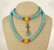 Natural Color Turquoise Necklace w/ Other Stone