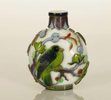 Chinese Overlay Peking Glass Snuff Bottle