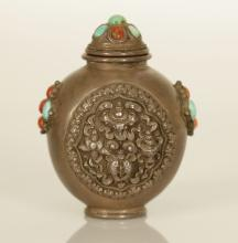 Tibetan Style Pewter Snuff Bottle Inlaid w/ Coral