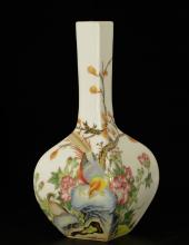 Chinese Rectangular Famille Rose Porcelain Vase