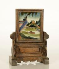 A Chinese Wood Mirror Screen