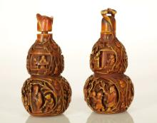 Pair of Chinese Bone Carved Gourd