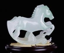 Pair of Chinese Jadeite Carved Horses
