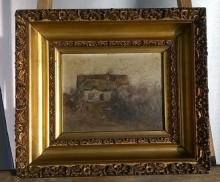 19th C Country Cottage, oil on academy board