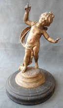 Fire Gilded Bronze Statue of a Putti