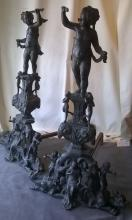 Bronze Andirons With Cherubs and Lions (Imperial Size)