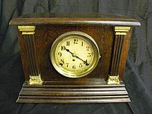 Antique wood pillar Mantle clock by Sessions.