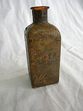 Vintage Leather Bound Ornate Decanter 7'' tall w/ amber bottle