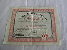 Busch Memorial Stadium First Nighter Certificate May 12, 1966
