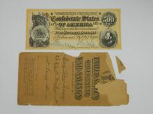 $500 Confederate States Of America Bill And An Antique United States Government War Savings Envelope