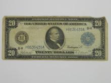 1914 Twenty Dollar St Louis Federal Reserve Note Blue Seal