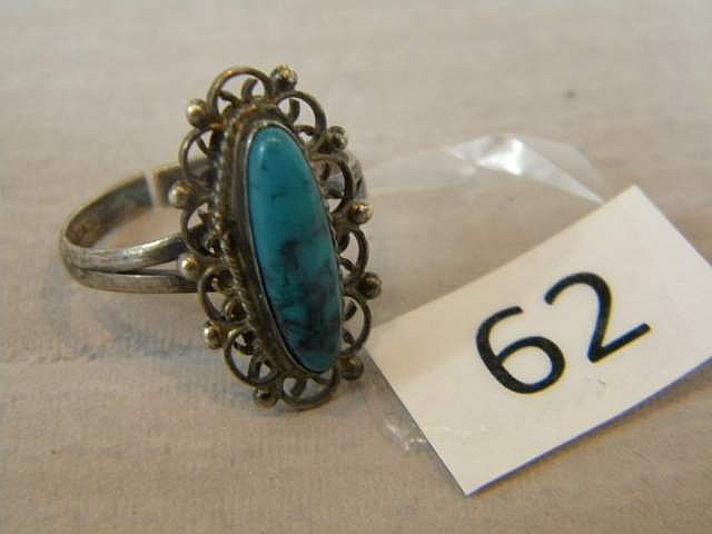 Antique Ladies' Turquoise Sterling Silver Ring Size 8