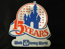 Very Rare Walt Disney World 15 years - Vintage Original Walt Disney World Lamp Post Sign-Mirror Finish