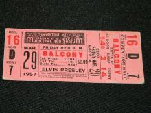 Very Rare Never Used 1957 Elvis Presley Ticket