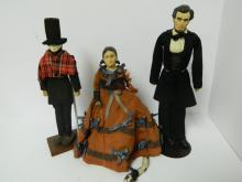 Group of 3 Historical Abraham Lincoln & Mary Todd Dolls - ONE VERY EARLY!