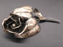 Large Sterling Rose Brooch