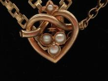 14k Victorian Rose Gold Watch Fob With Gold and Pearl Heart Slider