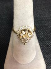 14k Gold 1 Cart Tear Drop Cluster Diamond Ring