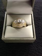 14K Yellow Gold Ring with 2K Diamond Cluster