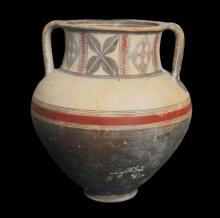 ANCIENT LARGE CYPRIOT BICHROME WARE AMPHORA