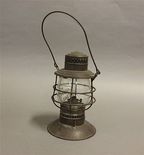 RAILROAD LANTERN PENNSYLVANIA LINES ADLAKE 95 STEEL TOP BELL BOTTOM CLEAR ETCHED GLOBE