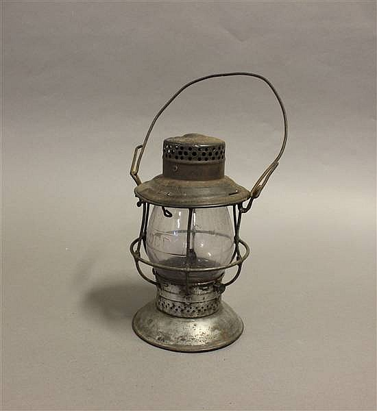 RAILROAD LANTERN T & OC RELIABLE STEEL TOP BELL BOTTOM CLEAR CAST GLOBE