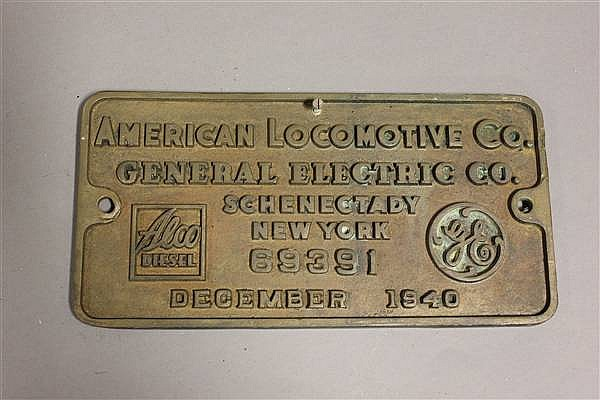 BRONZE LOCOMOTIVE BUILDERS PLATE ALCO DIESEL, DECEMBER 1940