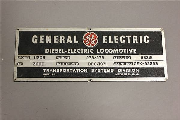 ALUMINUM LOCOMOTIVE BUILDERS PLATE G.E. DIESEL ELECTRIC LOCOMOTIVE