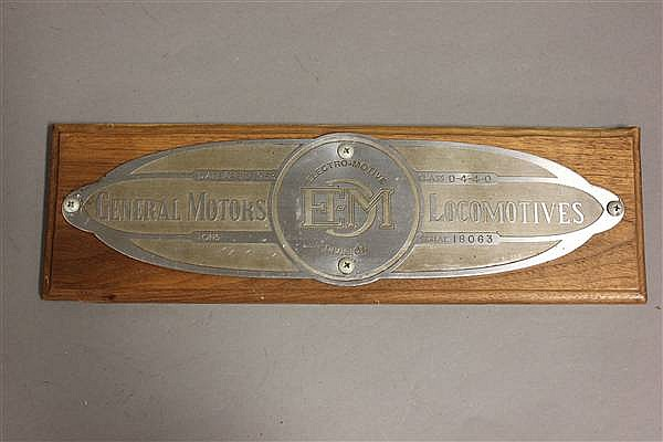 RAILROAD BUILDERS PLATE EMD NO. 18063, 4/53