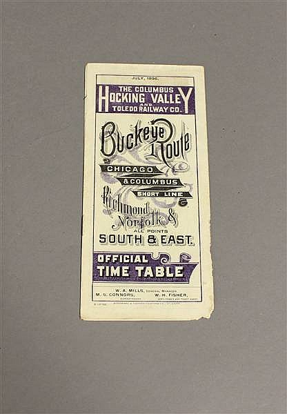 RAILROAD TIMETABLE CHV & T JULY 1896