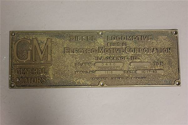 BRONZE LOCOMOTIVE BUILDERS PLATE GM DIESEL LOCOMOTIVE
