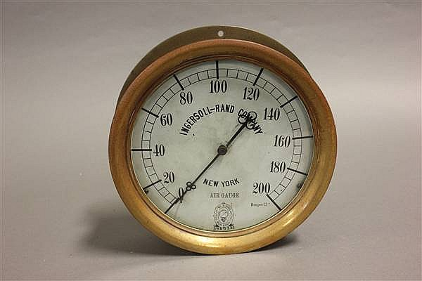 INGERSOLL-RAND AIR GAUGE WITH BRASS RIM