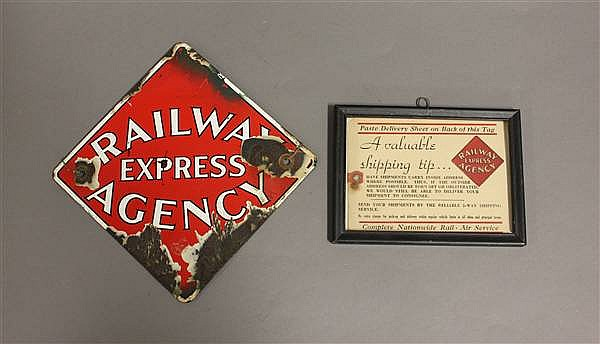2 PCS RAILWAY EXPRESS AGENCY PORCELAIN SIGN AND SHIPPING TAG