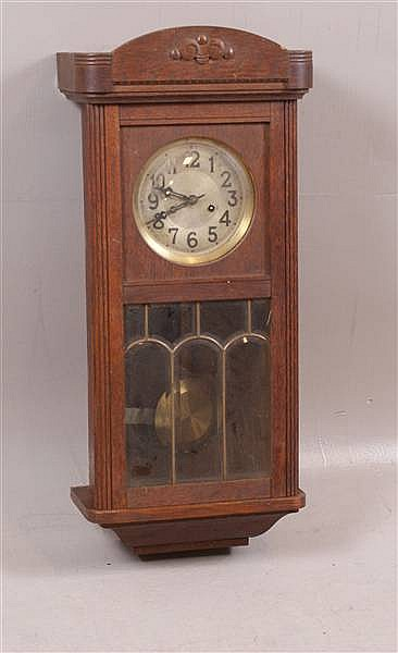 GUSTAV BECKER TRIO SONG OAK REGULATOR CLOCK, 29""