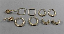 FIVE PAIRS STAMPED 14K YELLOW GOLD EARRINGS INCLUDING BAMBOO HOOPS, KNOT DESIGN AND HALF HOOPS, 1