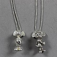 STAMPED STERLING SILVER CHAIN NECKLACES WITH MICKEY MOUSE AND MINNIE MOUSE PENDANTS, PENDANTS 1