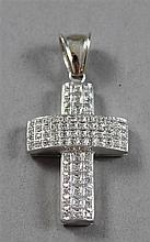 UNMARKED WHITE GOLD CROSS PENDANT WITH DIAMOND ACCENTS, 2 1/2