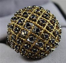 UNMARKED YELLOW GOLD BASKET WEAVE DOMED STYLE FASHION RING WITH SAPPHIRE ACCENTS, SIZE 6, TESTS TO 18K, 17.5 GRAMS TOTAL