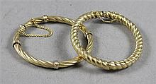 TWO STAMPED 14K YELLOW GOLD BANGLE BRACELETS WITH TWIST DESIGNS, 2 1/2