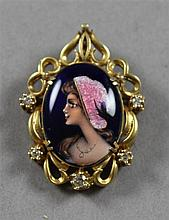 STAMPED 14K YELLOW GOLD FRENCH ENAMELED PORTRAIT PIN/PENDANT WITH DIAMOND ACCENTS, 1 3/4