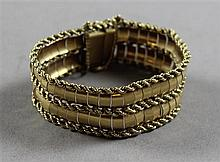 STAMPED 18K YELLOW GOLD ROPE DESIGN LINK BRACELET WITH STAR OF DAVID CHARM, 3/4