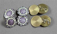 TWO PAIRS CUFF LINKS INCLUDING STAMPED STERLING ENAMELED AND 10K YELLOW GOLD MONOGRAMMED, 1/2
