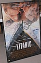 AUTOGRAPHED TITANIC MOVIE POSTER, SIGNED BY 10 CAST MEMBERS, INCLUDING DATE WINSLET & LEONARDO DICAPRIO, NO  CERT., CRACK IN GLASS 27 X 3