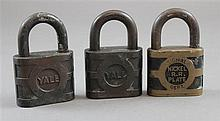 (3) NICKEL PLATE RAILROAD PADLOCKS-NO KEYS